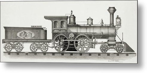 Vintage Illustration of Railroad Engine, 1894 - Metal Print from Wallasso - The Wall Art Superstore