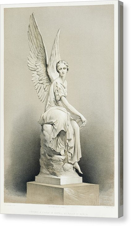 Vintage Illustration of Victory Angel With Wings Statue, 1851 - Canvas Print from Wallasso - The Wall Art Superstore