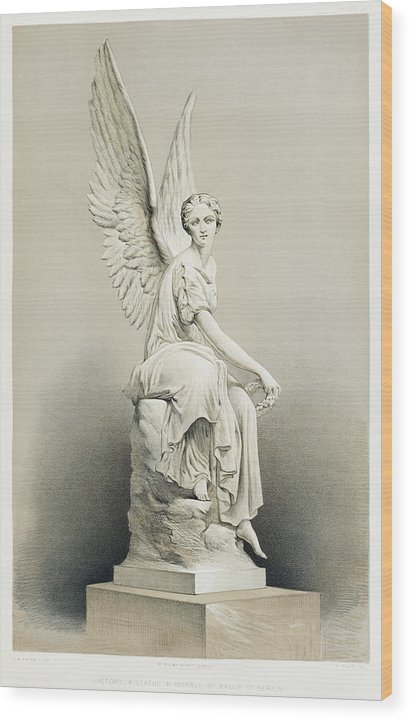 Vintage Illustration of Victory Angel With Wings Statue, 1851 - Wood Print from Wallasso - The Wall Art Superstore