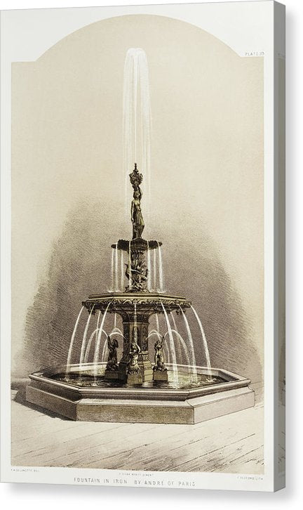 Vintage Illustration of Water Fountain, 1851 - Canvas Print from Wallasso - The Wall Art Superstore
