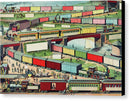 Vintage Illustration of Zigzag Passenger and Freight Train - Canvas Print from Wallasso - The Wall Art Superstore