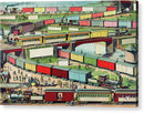Vintage Illustration of Zigzag Passenger and Freight Train - Acrylic Print from Wallasso - The Wall Art Superstore