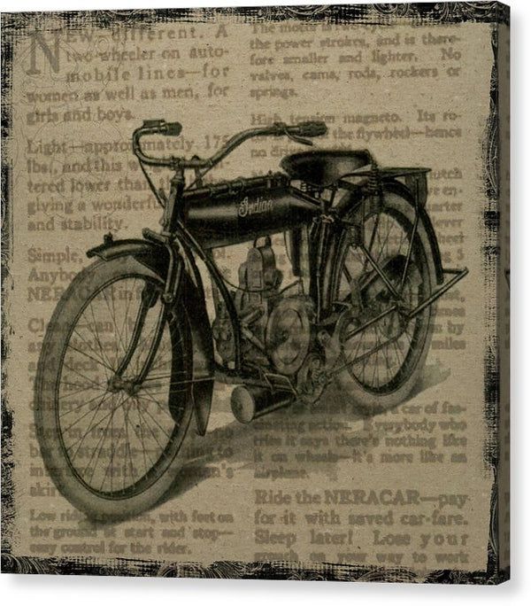 Vintage Indian Motorcycle Design - Canvas Print from Wallasso - The Wall Art Superstore