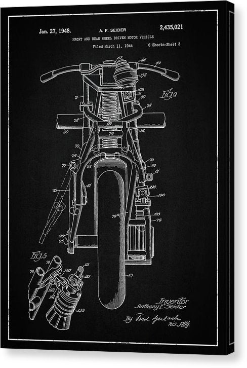 Vintage Indian Motorcycle Patent, 1948 - Canvas Print from Wallasso - The Wall Art Superstore
