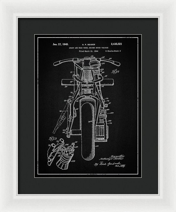 Vintage Indian Motorcycle Patent, 1948 - Framed Print from Wallasso - The Wall Art Superstore
