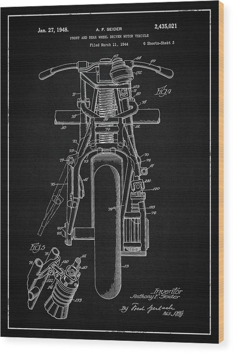 Vintage Indian Motorcycle Patent, 1948 - Wood Print from Wallasso - The Wall Art Superstore