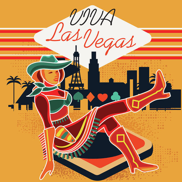 Vintage Inspired Viva Las Vegas Design - Art Print from Wallasso - The Wall Art Superstore