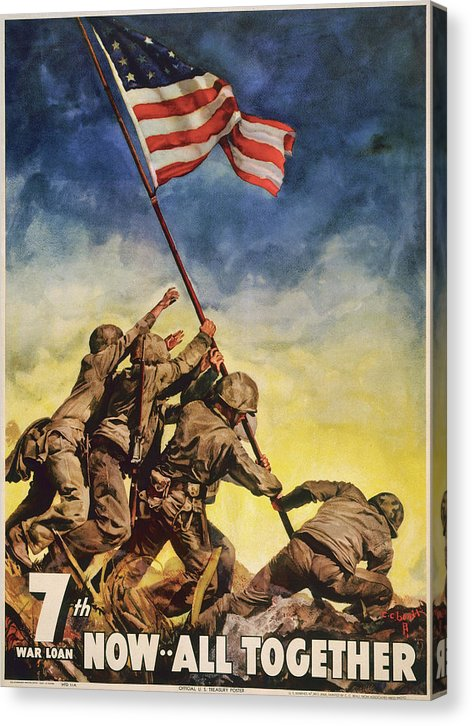 Vintage Iwo Jima American Flag Raising Poster, 1945 - Canvas Print from Wallasso - The Wall Art Superstore