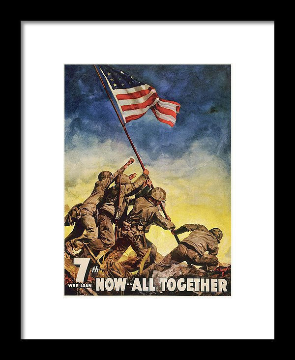 Vintage Iwo Jima American Flag Raising Poster, 1945 - Framed Print from Wallasso - The Wall Art Superstore