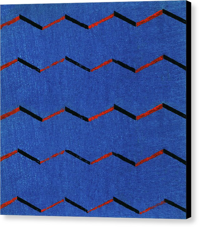 Vintage Japanese Pattern With Blue Zig Zags - Canvas Print from Wallasso - The Wall Art Superstore