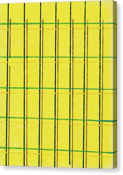 Vintage Japanese Pattern With Linear Yellow Grid - Canvas Print from Wallasso - The Wall Art Superstore