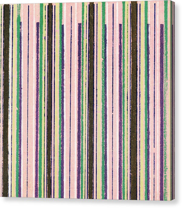 Vintage Japanese Pattern With Pink and Brown Lines - Canvas Print from Wallasso - The Wall Art Superstore