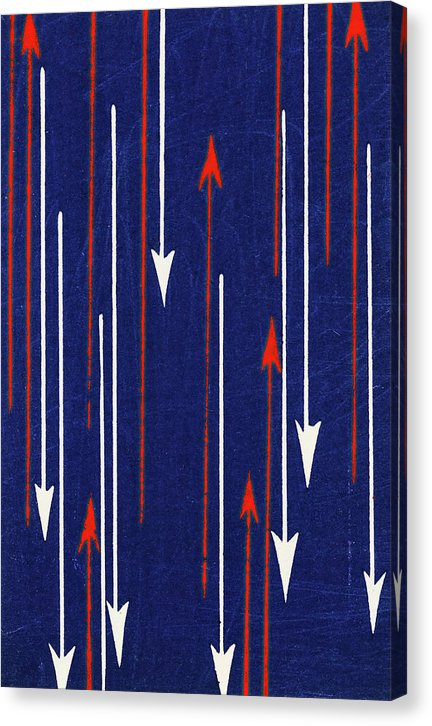 Vintage Japanese Pattern With Red and White Arrows - Canvas Print from Wallasso - The Wall Art Superstore