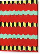 Vintage Japanese Pattern With Red and Yellow Zig Zags - Canvas Print from Wallasso - The Wall Art Superstore