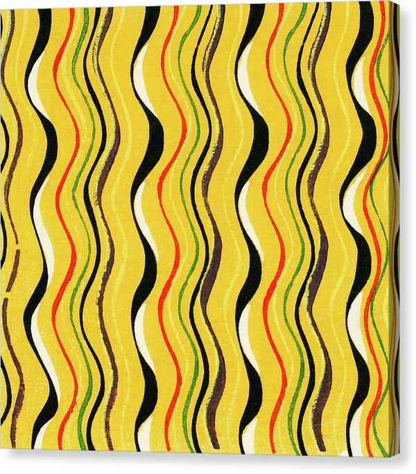 Vintage Japanese Pattern With Wavy Yellow And Black Lines - Canvas Print from Wallasso - The Wall Art Superstore