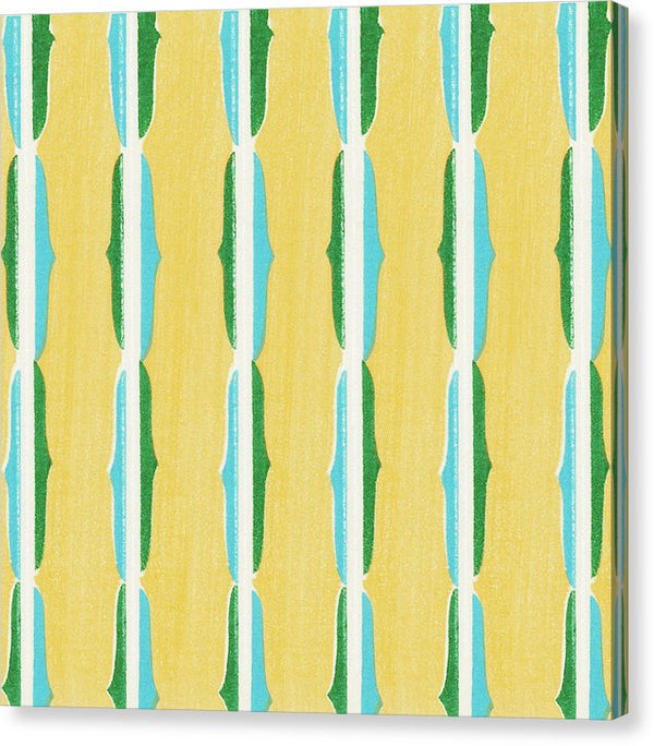 Vintage Japanese Pattern With Yellow, Blue, Green and White - Canvas Print from Wallasso - The Wall Art Superstore