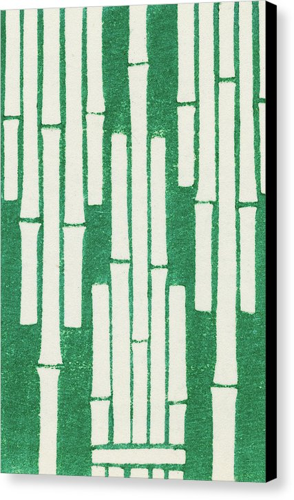 Vintage Japanese Pattern With Green Bamboo - Canvas Print from Wallasso - The Wall Art Superstore