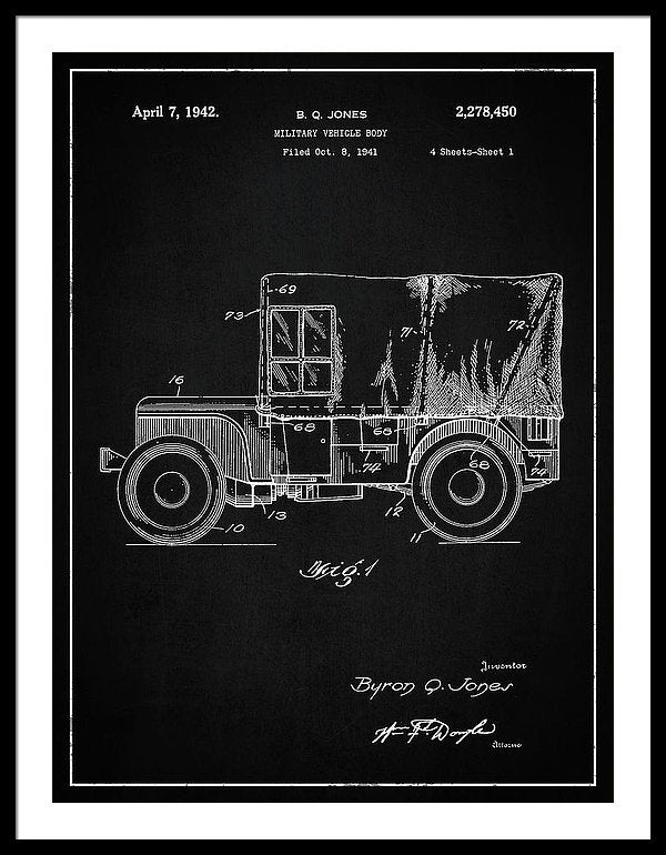Vintage Jeep Patent, 1941 - Framed Print from Wallasso - The Wall Art Superstore