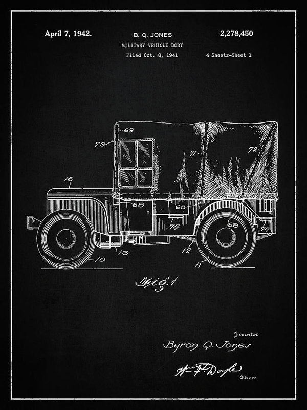 Vintage Jeep Patent, 1941 - Art Print from Wallasso - The Wall Art Superstore