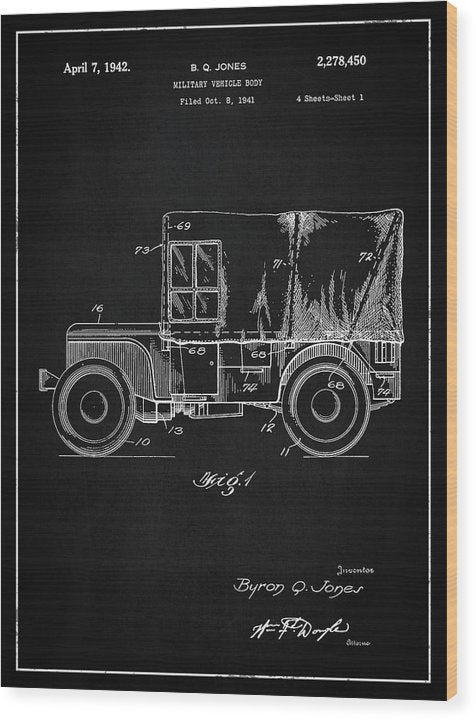 Vintage Jeep Patent, 1941 - Wood Print from Wallasso - The Wall Art Superstore