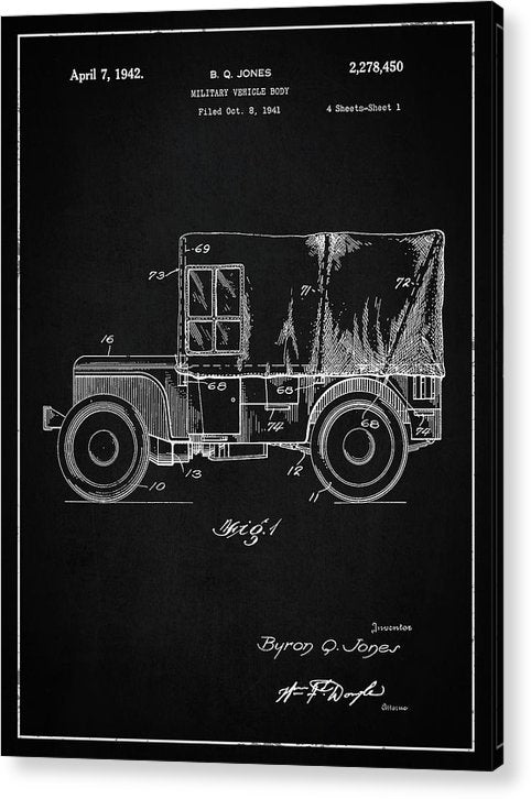 Vintage Jeep Patent, 1941 - Acrylic Print from Wallasso - The Wall Art Superstore