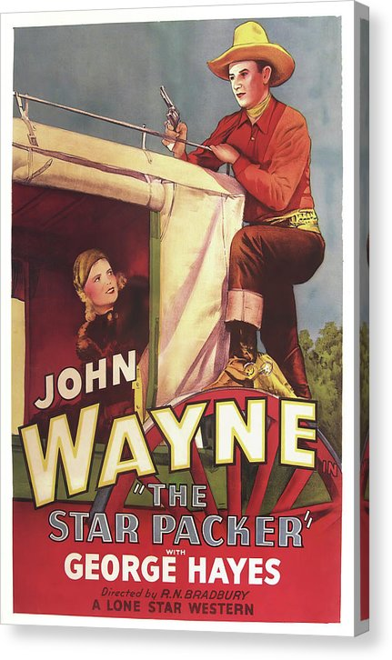Vintage John Wayne Western Movie Poster The Star Packer, 1934 - Canvas Print from Wallasso - The Wall Art Superstore