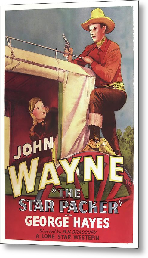 Vintage John Wayne Western Movie Poster The Star Packer, 1934 - Metal Print from Wallasso - The Wall Art Superstore