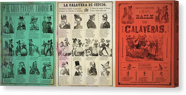 Vintage Jose Guadalupe Posada Mexican Flag Posters Collage, Ca. 1880 - Canvas Print from Wallasso - The Wall Art Superstore