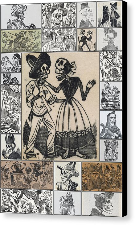 Vintage Jose Guadalupe Posada Skeleton Collage, Ca. 1880 - Canvas Print from Wallasso - The Wall Art Superstore