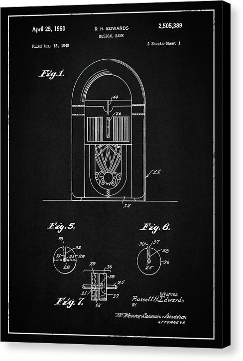Vintage Juke Box Patent, 1950 - Canvas Print from Wallasso - The Wall Art Superstore