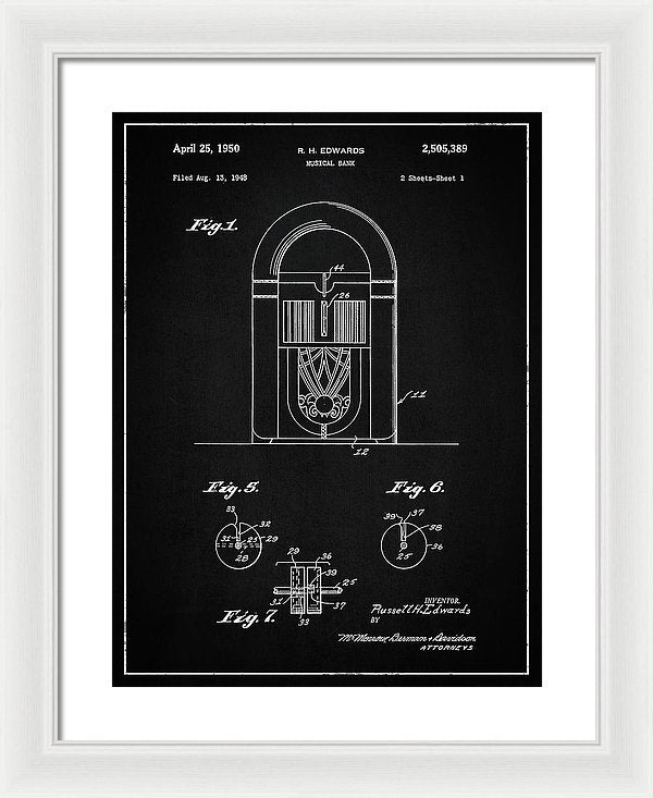 Vintage Juke Box Patent, 1950 - Framed Print from Wallasso - The Wall Art Superstore