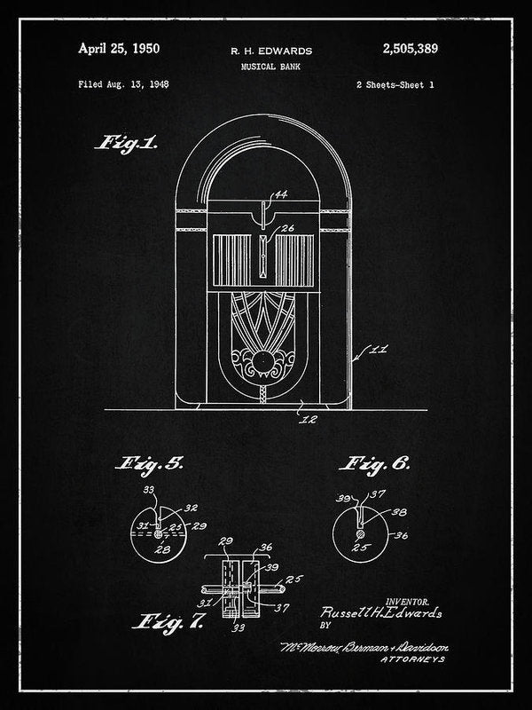 Vintage Juke Box Patent, 1950 - Art Print from Wallasso - The Wall Art Superstore
