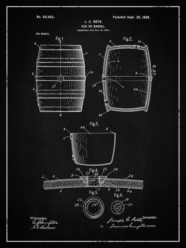 Vintage Keg Patent, 1898 - Art Print from Wallasso - The Wall Art Superstore