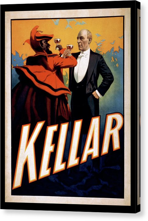Vintage Kellar The Magician Drinking Wine With The Devil Poster, 1899 - Canvas Print from Wallasso - The Wall Art Superstore