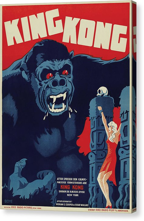 Vintage King Kong Movie Poster, 1933 - Canvas Print from Wallasso - The Wall Art Superstore