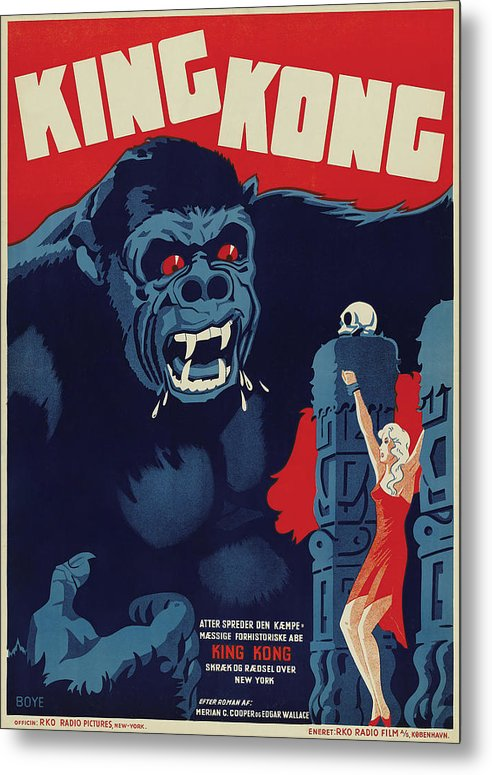 Vintage King Kong Movie Poster, 1933 - Metal Print from Wallasso - The Wall Art Superstore