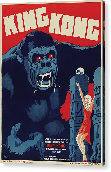 Vintage King Kong Movie Poster, 1933 - Acrylic Print from Wallasso - The Wall Art Superstore