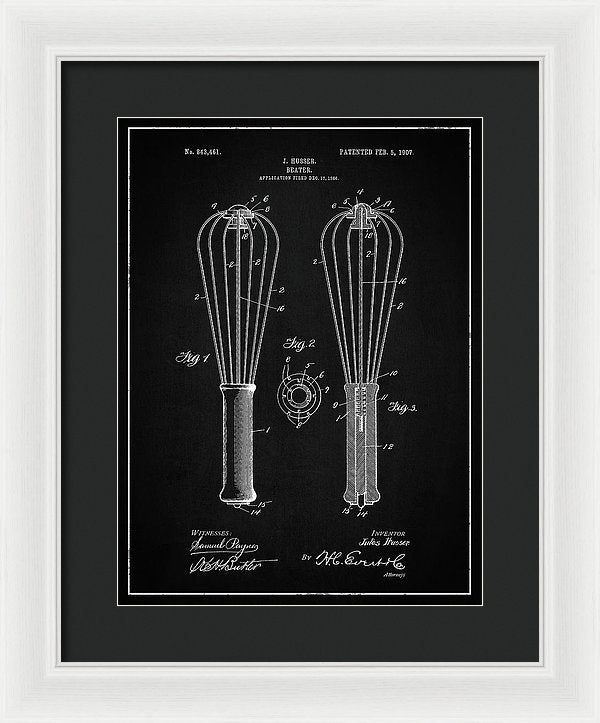 Vintage Kitchen Whisk Patent, 1907 - Framed Print from Wallasso - The Wall Art Superstore
