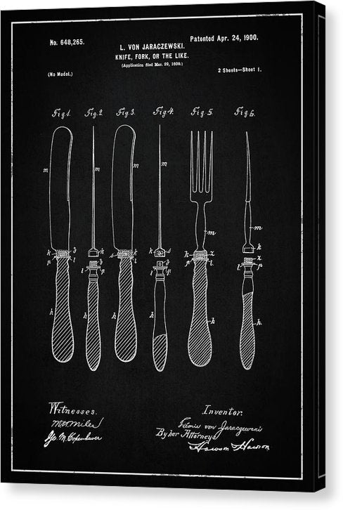Vintage Knife and Fork Patent, 1900 - Canvas Print from Wallasso - The Wall Art Superstore