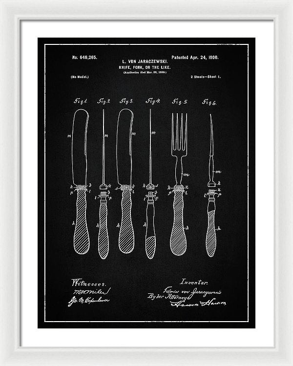 Vintage Knife and Fork Patent, 1900 - Framed Print from Wallasso - The Wall Art Superstore