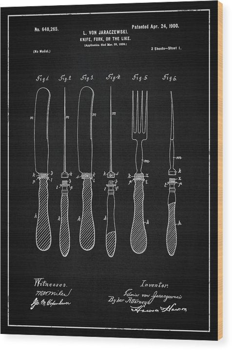 Vintage Knife and Fork Patent, 1900 - Wood Print from Wallasso - The Wall Art Superstore