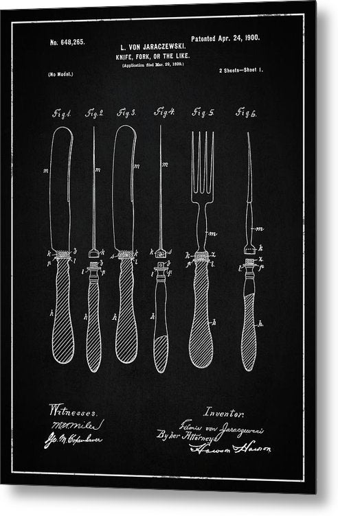 Vintage Knife and Fork Patent, 1900 - Metal Print from Wallasso - The Wall Art Superstore