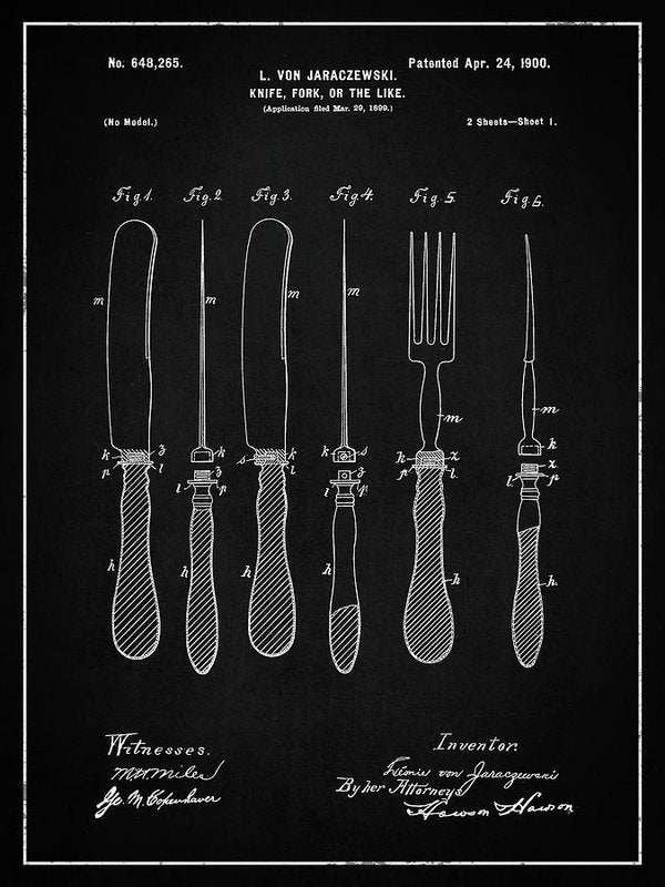 Vintage Knife and Fork Patent, 1900 - Art Print from Wallasso - The Wall Art Superstore
