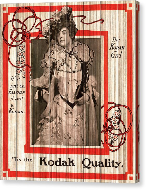 Vintage Kodak Advertisement Design With Victorian Woman - Canvas Print from Wallasso - The Wall Art Superstore