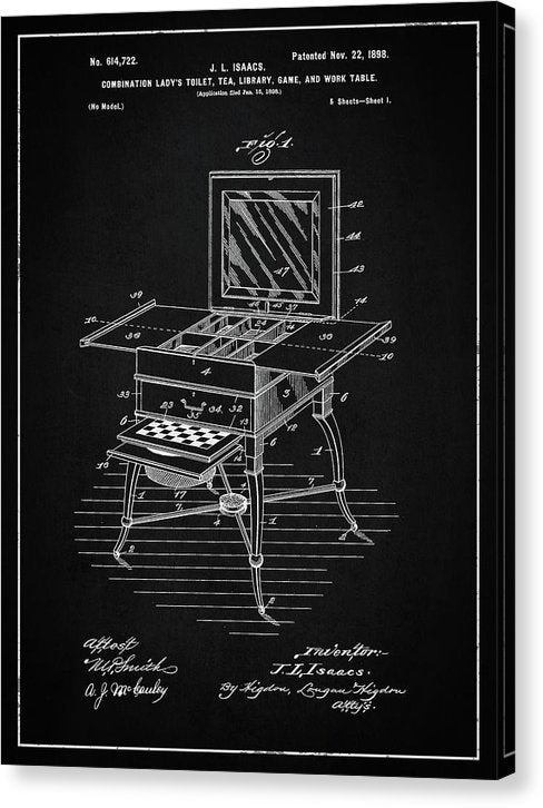 Vintage Ladies Vanity Detail Patent, 1898 - Canvas Print from Wallasso - The Wall Art Superstore