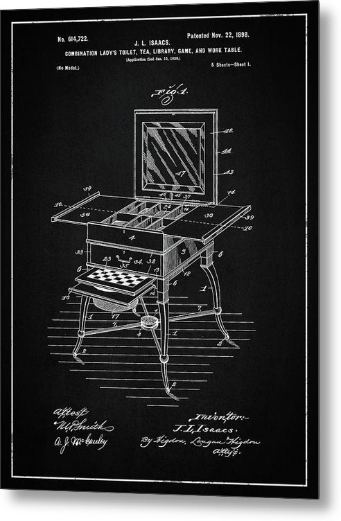 Vintage Ladies Vanity Detail Patent, 1898 - Metal Print from Wallasso - The Wall Art Superstore