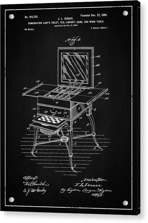Vintage Ladies Vanity Detail Patent , 1898 - Acrylic Print from Wallasso - The Wall Art Superstore