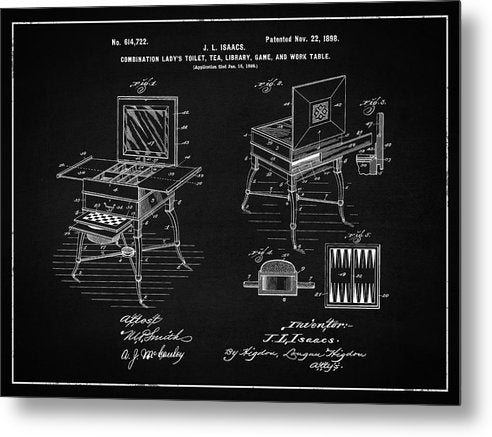 Vintage Ladies Vanity Patent, 1898 - Metal Print from Wallasso - The Wall Art Superstore
