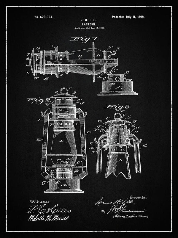 Vintage Lantern Patent, 1899 - Art Print from Wallasso - The Wall Art Superstore