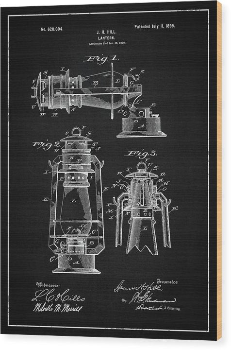 Vintage Lantern Patent, 1899 - Wood Print from Wallasso - The Wall Art Superstore